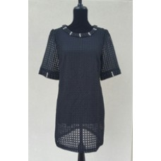 Aryeh Black Crochet Dress with Black Slip and Pearl Detail