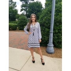Erma's Closet Black and White Damask Long Sleeve Dress with Chevron Bottom