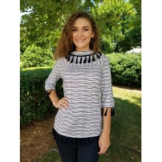 Erma's Closet Black and White Chevron Top with Tassel Trim