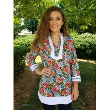 Erma's Closet Brown and Turquoise Floral Tunic with White Trim
