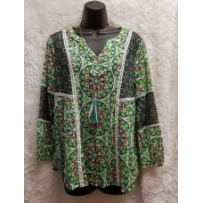 A La Carte Green Print Peasant Top