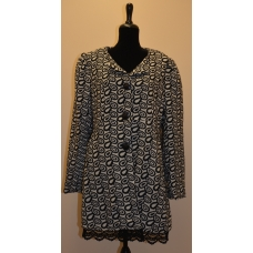 Adorn Grey and Black Floral Print Long Peacoat