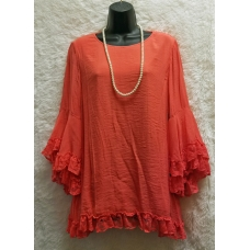 Ali Miles Coral 3/4 Sleeve Top with Lace Trim