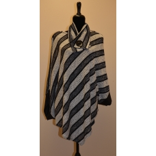 Artex Black and White Poncho with Neck Tie