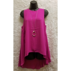 Aryeh Hot Pink Sleeveless Flowy Top with Sheer Bottom Back