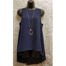 Aryeh Navy Sleeveless Flowy Top with Sheer Bottom Back