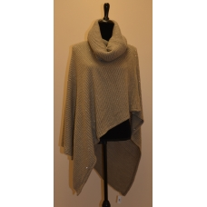 Simply Noelle Beige with Gold Sequin Turtleneck Poncho