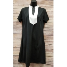 Erma's Closet Black Dress with White Yolk Detail