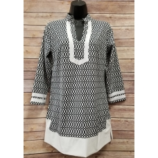 Erma's Closet Black & White Print Tunic with White Trim