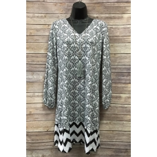 Erma's black and white Demask V-neck long sleeve dress w/ Chevron bottom