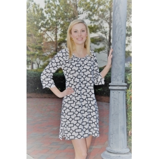 Erma's Closet White and Black Geo Print Babydoll Dress