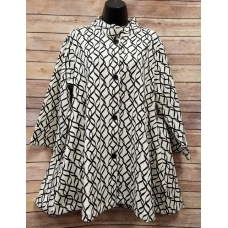 Erma's Closet Black and Cream Print Swing Jacket