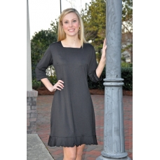 Erma's Closet Black Squareneck Dress with Ruffle Bottom