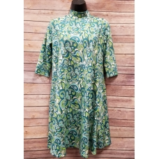 Erma's Closet Blue & Green Swirl Print Moc Neck Dress