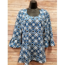 Erma's Closet Blue and Black Print Uneck Tunic