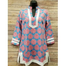 Erma's Closet Cornflower and Hot Pink Print Tunic