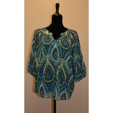 Buckhead Betties Blue and Green Floral Print Top