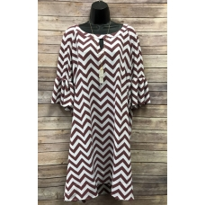 Erma's Closet Burgandy and White Chevron Keyhole w/ Bell Sleeves
