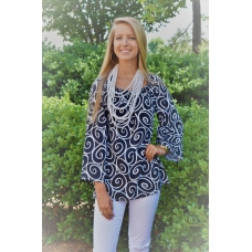Erma's Closet Black & White Swirl Print Gathered Neck Top