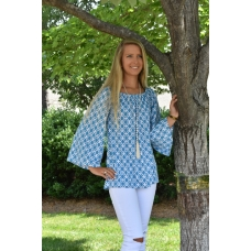 Erma's Closet Blue & White Print Gathered Neck Tunic