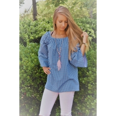 Erma's Closet Blue & White Diamond Print Gathered Neck Tunic
