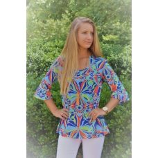 Erma's Closet Blue and Lime Print Uneck Tunic