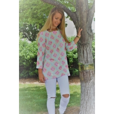 Erma's Closet Seafoam and Pink Medallion Squareneck Tunic