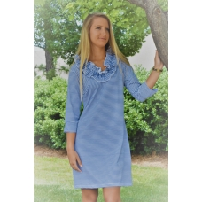 Erma's Closet Royal Blue and White Stripe Ruffle Neck Dress