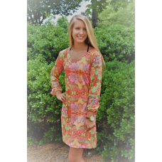 Erma's Closet Multi Floral Vneck Orange Dress