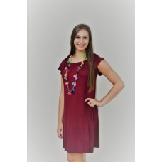 Active USA Burgundy Jersey Dress With Gathered Neck