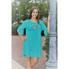 Umgee Teal Knit Dress with Bell Sleeve