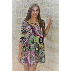 Voel Multi Colored Print Criss Cross Front Dress