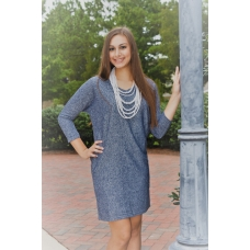 All For Color Blue Knit V Neck Dress
