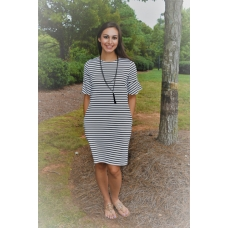 All For Color Black and White Stripe Dress with Bell Sleeve