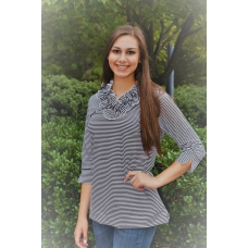 Erma's Closet Black and White Striped Ruffle Neck Top