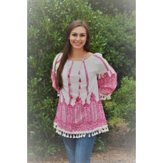 Velzerra Pink and White Boho Chic Top with Tassel Trim