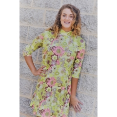 Erma's Closet Flower Power Mock Neck Swing Dress