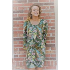 Erma's Closet Olive Bell-sleeve Dress with Ric Rac Trim