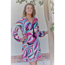Erma's Closet Black, Turquoise, and Orange V-neck Pucci Print Dress