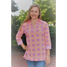 Erma's Closet Coral and Raspberry Trina Two Toned Tunic