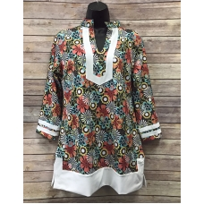 Erma's Closet Black Floral Tunic with White Trim
