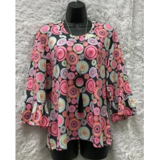 Erma's Closet Black with Pink Circle Print U-neck Top