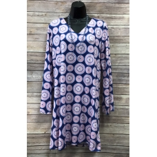 Erma's Closet V-neck Navy Dress with Pink Circles