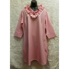 Erma's Closet Pink Stripe Ruffle V-neck Dress
