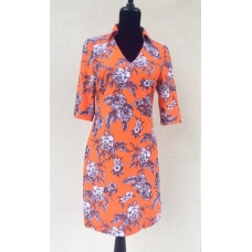 Aryeh Orange & Brown Floral Print Dress