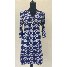 Aryeh Navy & Cream Chain Print U-Neck Dress