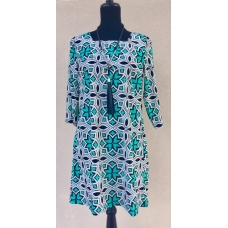 Aryeh Teal and Black Print Dress