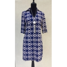Aryeh Navy and Cream Chain Print Collared Neck Dress