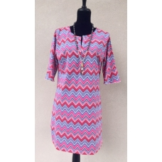 Erma's Closet Grey, Red, Pink & White Chevron Dress