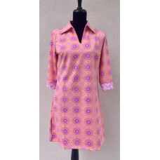 Erma's Closet Pink & Purple Two Toned Trina Turk Pattern Dress